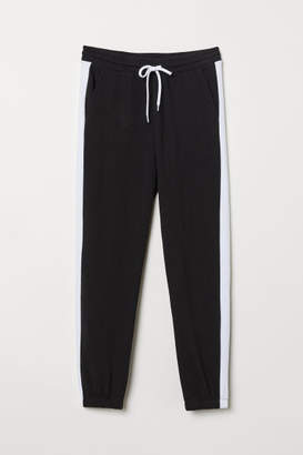 H&M Sweatpants with Side Stripes - Black
