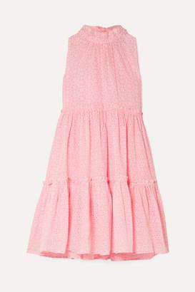 Lisa Marie Fernandez Erica Ruffled Broderie Anglaise Cotton Mini Dress - Baby pink
