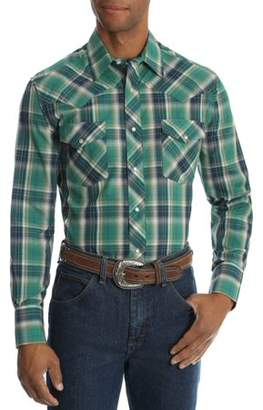 Wrangler Men's and Men's Big Long Sleeve Plaid Western Shirt, up to Size 3XL