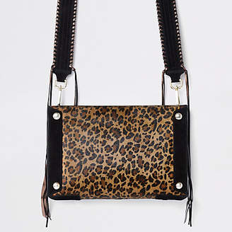 River Island Beige leather leopard print cross body bag