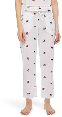 Topshop Embroidered Floral Ankle Pajama Pants