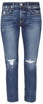 Rag & Bone Jean JEAN Ankle Dre Ripped Slim-leg Jeans