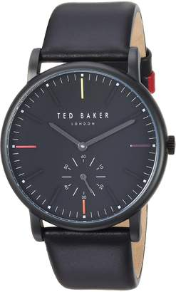 Ted Baker Men's 'NOLAN' Quartz Stainless Steel and Leather Casual Watch, Color (Model: TE50072003)
