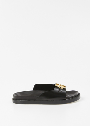 Off-White black flat sandals $1,126 thestylecure.com