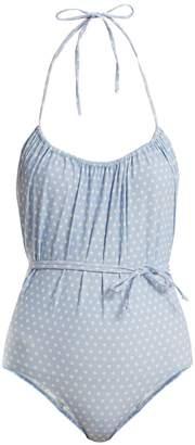 Lisa Marie Fernandez Charlotte polka dot-print halterneck swimsuit