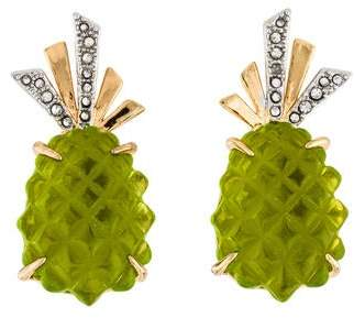 Alexis Bittar Lucite & Crystal Pineapple Clip-On Earrings