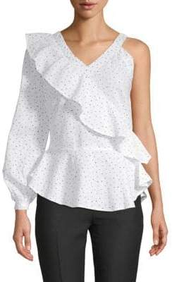 Novelty One-Sleeve Peplum Top