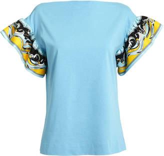0390ed5ba5b9 Emilio Pucci Printed Ruffle Sleeve T-Shirt
