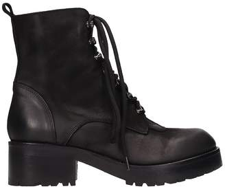 Strategia Black Leather Combact Boots