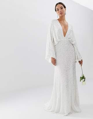 Asos Edition EDITION sequin kimono sleeve wedding dress