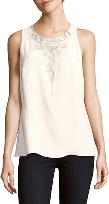Carolina Herrera Women's Embellished Sleeveless Raw Silk Blouse