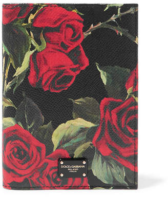 Dolce & Gabbana Floral-print Textured-leather Passport Cover - Black