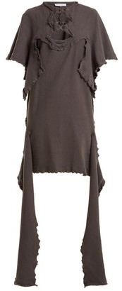 J.W.Anderson Cut Out Distressed Cotton Jersey Dress - Womens - Dark Grey