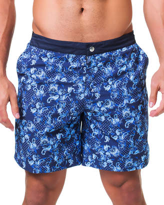 Maceoo Lion Paisley-Print Swim Shorts