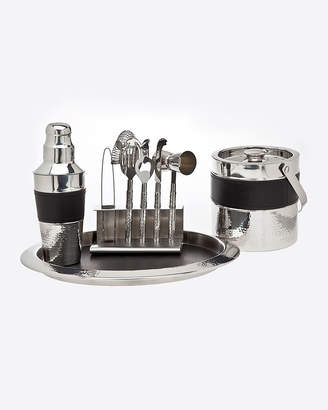 Godinger 9-Piece Stainless Steel & Leather Barware Set