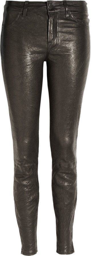 J Brand Denim Stretch-leather skinny pants