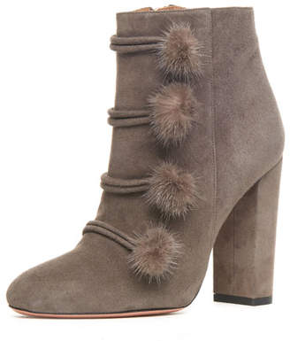 Aquazzura Ulyana Mink-Trim 105mm Bootie, Urban Gray