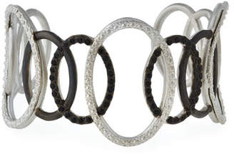Armenta New World Large Open Circle Cuff Bracelet with Black Spinel