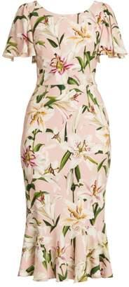 Dolce & Gabbana Lily Print Flutter Sheath Dress