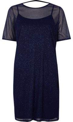 River Island Womens Dark blue glitter mesh T-shirt dress