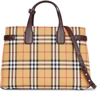 432a7b02540c Burberry The Medium Banner in Vintage Check and Leather