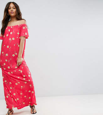 Asos Tall Off Shoulder Maxi Dress In Floral Print