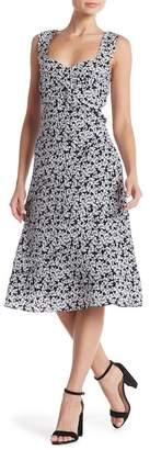 Nicole Miller Silk Floral Print Midi Dress