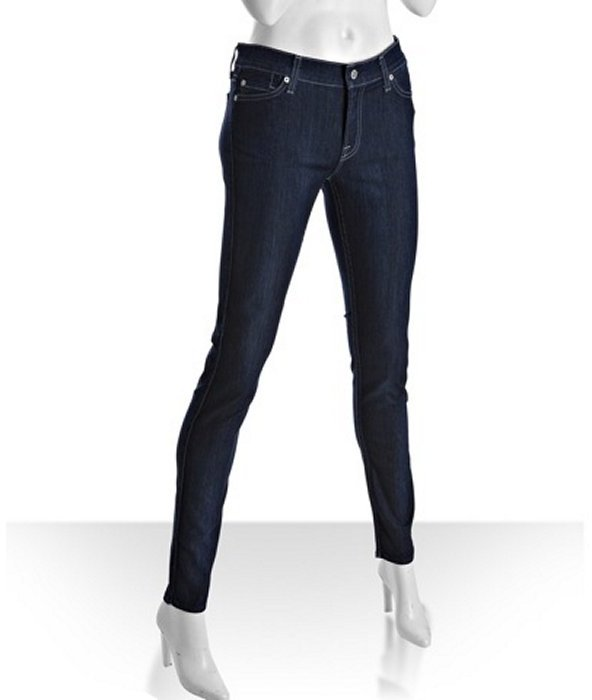 7 for All Mankind true blue 'The Skinny' second skin jeans