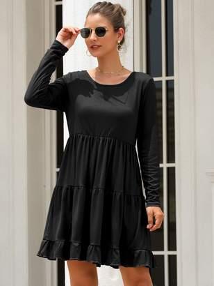 Shein Solid Long Sleeve Ruffle Hem Short Dress