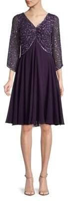 J Kara Embellished Fit-&-Flare Dress