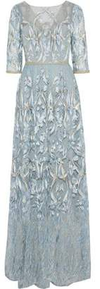 Marchesa Sequin-Embellished Metallic Embroidered Tulle Gown