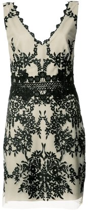 Nicole Miller embroidered V-neck dress $395 thestylecure.com