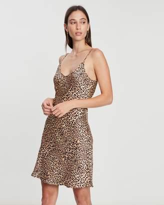 Short Printed '90s Silk Slip Dress