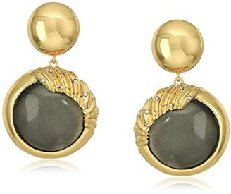 Alexis Bittar Crystal Studded Sculptural Sphere Dangling Post Ivory Drop Earrings