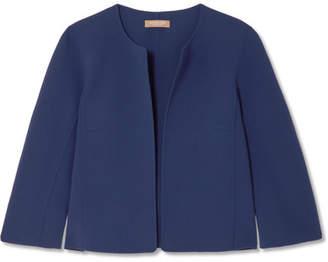 Michael Kors Cropped Wool-blend Crepe Jacket - Blue