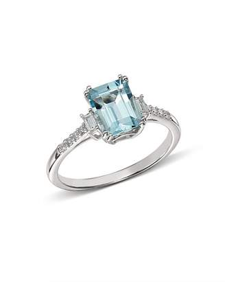 Bloomingdale's Emerald-Cut Aquamarine & Diamond Baguette Ring in 14K White Gold - 100% Exclusive