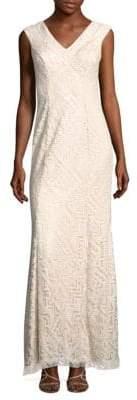 Tadashi Shoji Semi-Sheer Overlay Dress