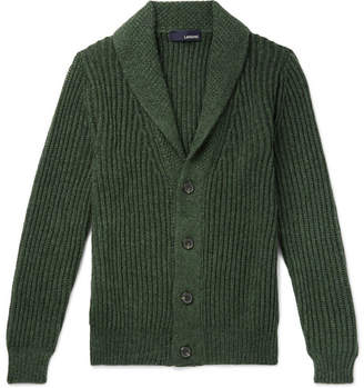 Lardini Slim-Fit Shawl-Collar Knitted Cardigan - Green
