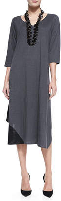 Eileen Fisher 3/4 Sleeve Colorblock V-Neck Jersey Dress, Plus Size $298 thestylecure.com