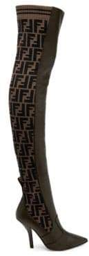 Fendi Rockoko Thigh High Leather and Sock Boots