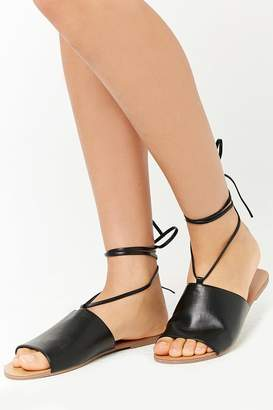 Forever 21 Faux Leather Ankle-Wrap Sandals