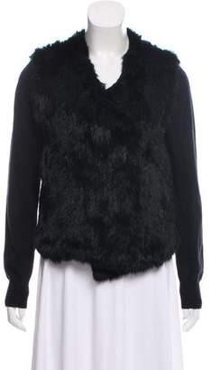 Joie Fur-Trimmed Knit Cardigan