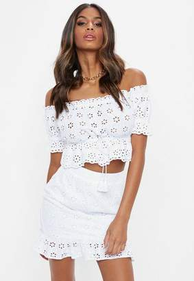Missguided Broderie Wrap Frill Mini Skirt