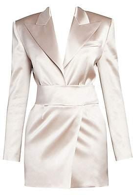 Alexandre Vauthier Women's Deep V-Neck Satin Tuxedo Mini Dress