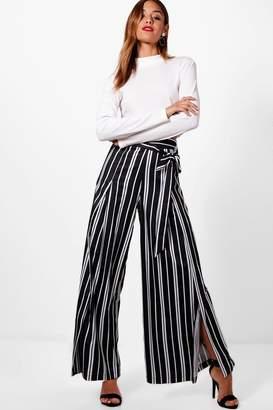 boohoo Woven Wrap Stripe & Tie Wide Leg Trouser