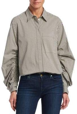 3.1 Phillip Lim Ruched Sleeve Gingham Shirt