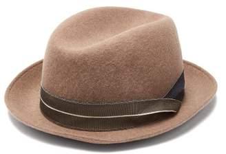 Giorgio Armani Grosgrain Trimmed Wool Felt Trilby Hat - Mens - Beige
