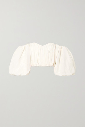 Ellery Lady Chatterley Off-the-shoulder Cotton-blend Moire Top - Ivory