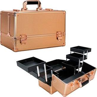 Ver Beauty 6-tiers accordion trays professional cosmetic makeup train case - vp001