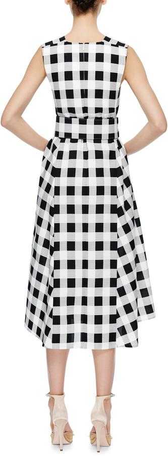 Derek Lam Belted Gingham Faille Dress